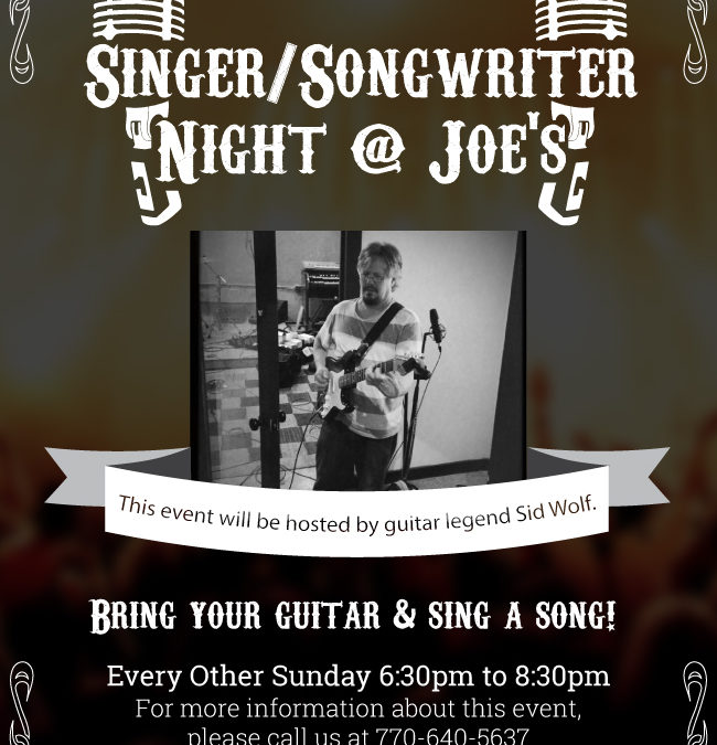 Flyer: Joe's New York Pizzeria : Singer/Songwriter Night